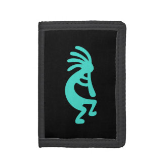 Black and Turquoise Kokopelli Tri-fold Wallet