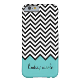 Black and Turquoise Modern Chevron Custom Monogram Barely There iPhone 6 Case
