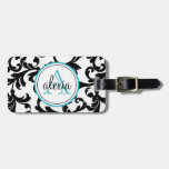 Black And Turquoise Monogrammed Damask Print Bag Tag at Zazzle