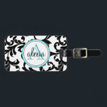"""Black and Turquoise Monogrammed Damask Print Bag Tag<br><div class=""""desc"""">Black and Turquoise Monogrammed Damask Print</div>"""