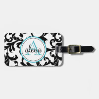 Black and Turquoise Monogrammed Damask Print Bag Tag