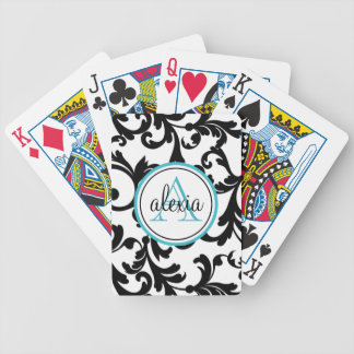 Black and Turquoise Monogrammed Damask Print Bicycle Playing Cards