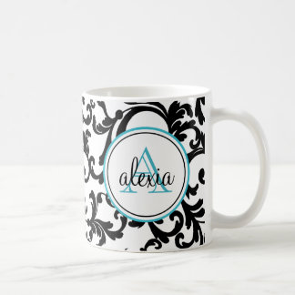 Black and Turquoise Monogrammed Damask Print Coffee Mug