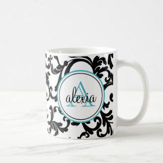 Black and Turquoise Monogrammed Damask Print Coffee Mug