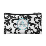 Black and Turquoise Monogrammed Damask Print Cosmetic Bag