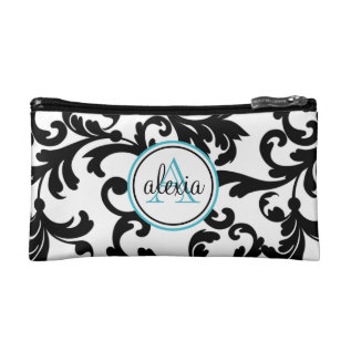 Black And Turquoise Monogrammed Damask Print Cosmetic Bag at Zazzle