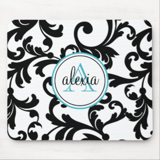 Black and Turquoise Monogrammed Damask Print Mousepad