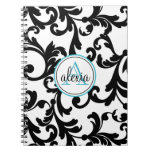 Black and Turquoise Monogrammed Damask Print Note Books