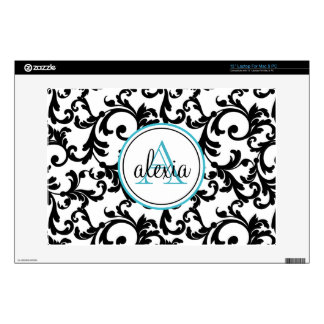 """Black and Turquoise Monogrammed Damask Print 13"""" Laptop Decals"""