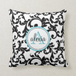 Black and Turquoise Monogrammed Damask Print Throw Pillows