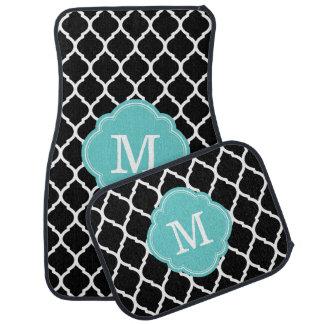 Black and Turquoise Moroccan Quatrefoil Monogram Car Floor Mat