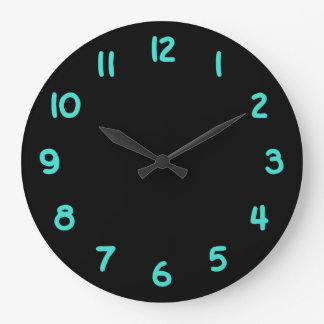 Black and Turquoise Numbers Large Clock
