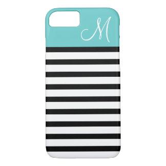 Black and Turquoise Preppy Stripes Custom Monogram iPhone 8/7 Case