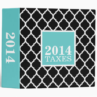 Black and Turquoise Quatrefoil Cute Tax Binder
