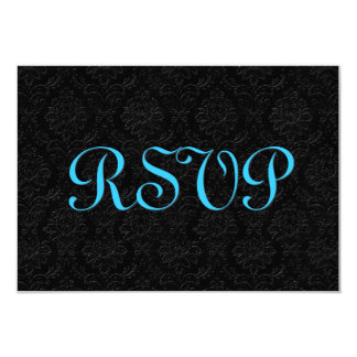 Black and Turquoise RSVP Damask Wedding R204 Custom Announcements