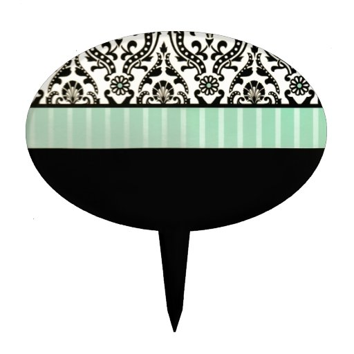 Black and Turquoise stationery Cake Toppers