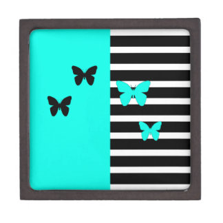 Black and turquoise stripes and butterflies gift box