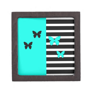 Black and turquoise stripes and butterflies jewelry box
