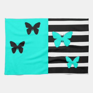 Black and turquoise stripes and butterflies towel