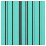 [ Thumbnail: Black and Turquoise Stripes Fabric ]