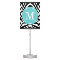 Black and Turquoise Zebra Print Custom Monogram Desk Lamp