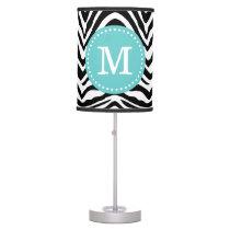 Black and Turquoise Zebra Print Custom Monogram Desk Lamp
