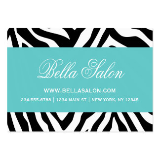 Black and Turquoise Zebra Stripes Animal Print Large Business Cards (Pack Of 100)