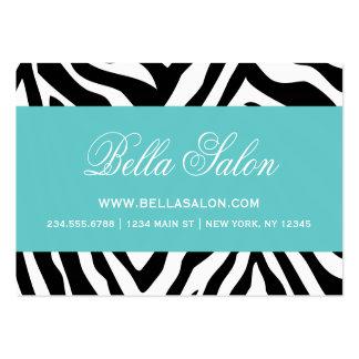 Black and Turquoise Zebra Stripes Animal Print Business Card