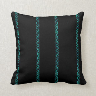 Black and Turquoise Zigzag Striped Throw Pillow