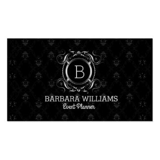 Black And Vintage Swirly Silver Frame Business Card