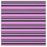 [ Thumbnail: Black and Violet Colored Pattern of Stripes Fabric ]
