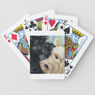 Black and wheaten Scottish terrier scottie art Bicycle Playing Cards