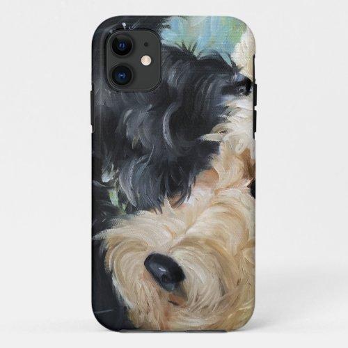 Black and wheaten Scottish terrier scottie art Phone Case