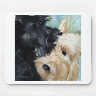 Black and wheaten Scottish terrier scottie art Mouse Pad