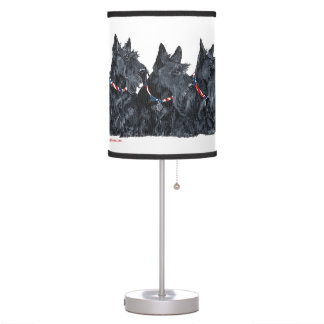 Black and Wheaten Scottish Terriers Desk Lamp