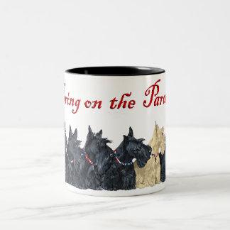Black and Wheaten Scottish Terriers Two-Tone Coffee Mug