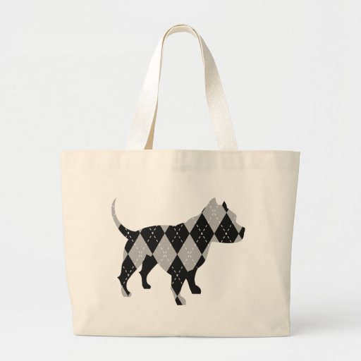 Black and While Argyle Pitbull Dog T-Shirt Bags