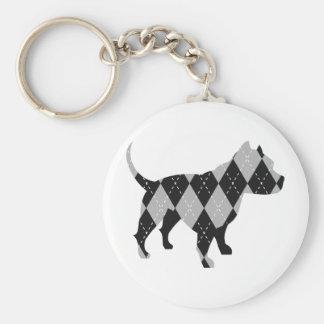 Black and While Argyle Pitbull Dog T-Shirt Keychain