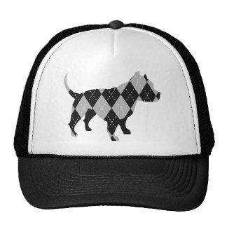 Black and While Argyle Pitbull Dog T-Shirt Trucker Hat
