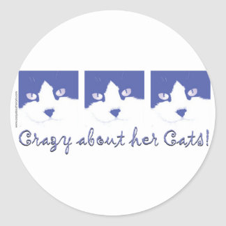 black and whit longhaired cat classic round sticker