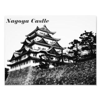 Black and whit photo of Nagoya Castle