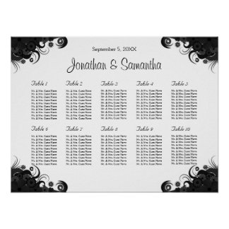 Black and White 10 Wedding Tables Seating Charts