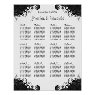 Black and White 12 Wedding Tables Seating Charts