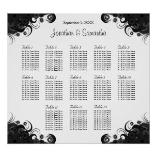 Black and White 13 Wedding Tables Seating Charts
