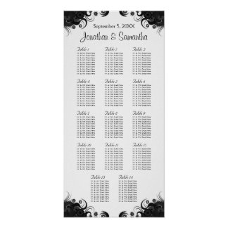 Black and White 14 Wedding Tables Seating Charts