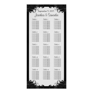 Black and White 15 Wedding Tables Seating Charts Poster