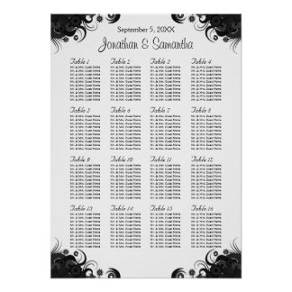 Black and White 16 Wedding Tables Seating Charts Poster