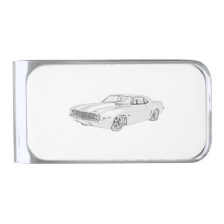 Black and White 1969 Chevrolet Camaro Drawing Silver Finish Money Clip