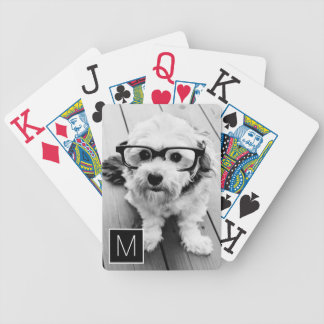 Black and White 1 Photo Collage Custom Monogram Bicycle Playing Cards