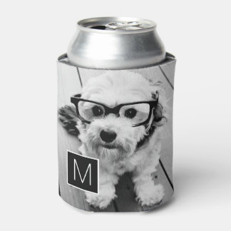 Black and White 1 Photo Collage Custom Monogram Can Cooler